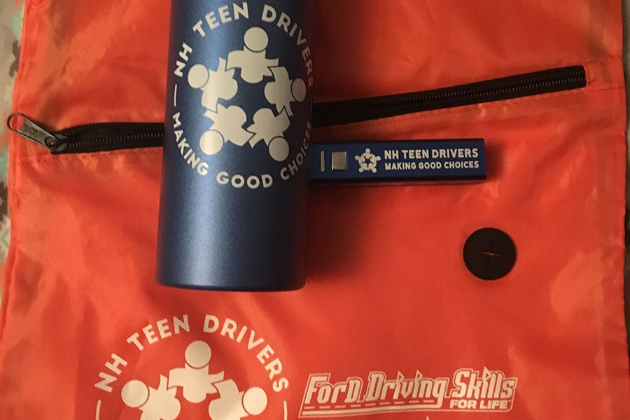 "Some of the souvenirs that Buckle Up NH handed out to kids for attending their conference in order to encourage safe choices. Hollis Brookline's Shannon O'Connor '18 stays safe on the road by, ""not touching [her] phone and staying alert to everyone around [her]."" That is the behavior that Buckle Up NH is trying to encourage by advertising safety."