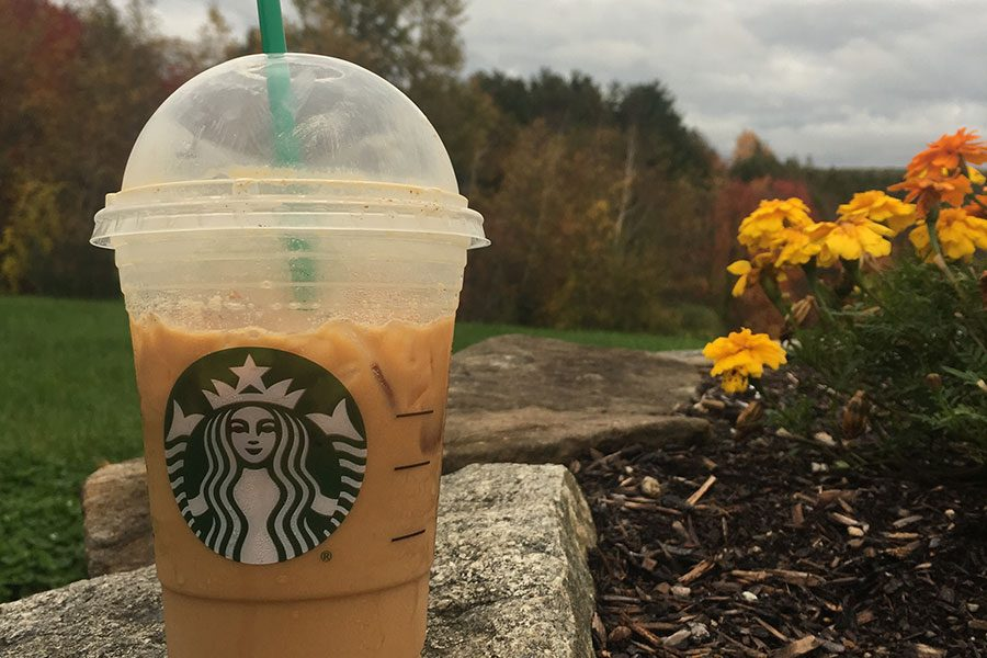 A typical artsy picture of the famous Starbucks pumpkin spice latte
