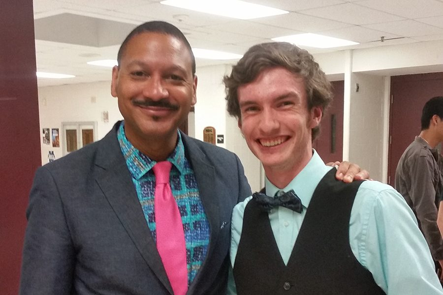 "Delfeayo provides a harmless grin as he takes a pic with a huge fan. Marsalis had been selling and signing his new CD out in the lobby after the show, and offering conversation and pictures for any students who want them. ""I better keep an eye out for you man,"" said Marsalis as he fared well to this student and the state as a whole."