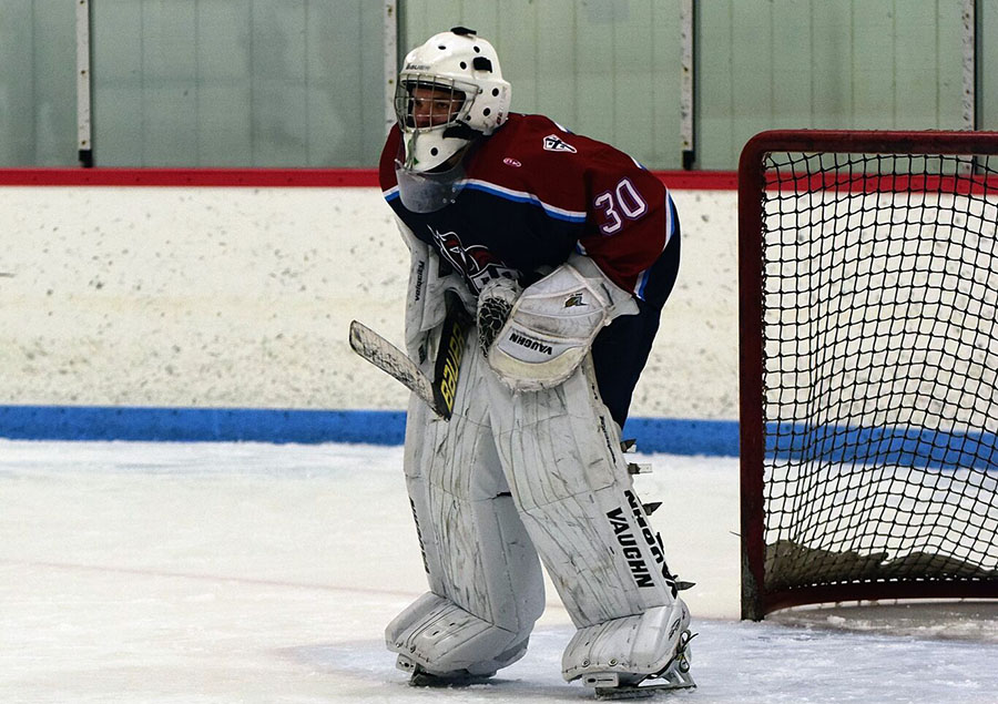Goalie Nik Direnzo preparing to make a save. He will be making a big jump into the starting role this year.