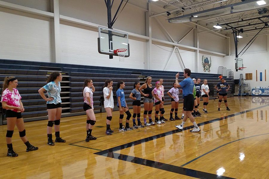 "The HBHS volleyball programs host a summer skills development camp every year. This is part of the overall mission to keep the teams always fresh with new talent and to provide court time outside of a given season. ""It's very important to get involved and help the younger generations that will come after you leave high school,"" says Maddie Norris '19, who is looking to play at the Division I level in college."