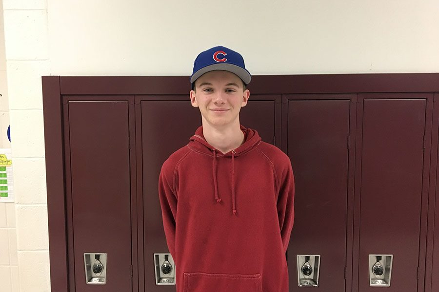 Camden Guay '20  models his wonderful baseball cap. Guay is a big fan of the new tolerance for headwear throughout the building, and loves being able to express his enthusiasm for the Chicago Cubs baseball team. Hats make all people come together as one.