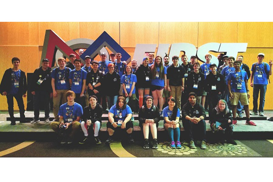 """The team at the World Championship in St. Louis, Missouri last year. """"It was fun to travel because of how we did during the competition season. We didn't win but I'm happy to have worked with the team"""" said Michael Volmer '17, who graduated last year."""