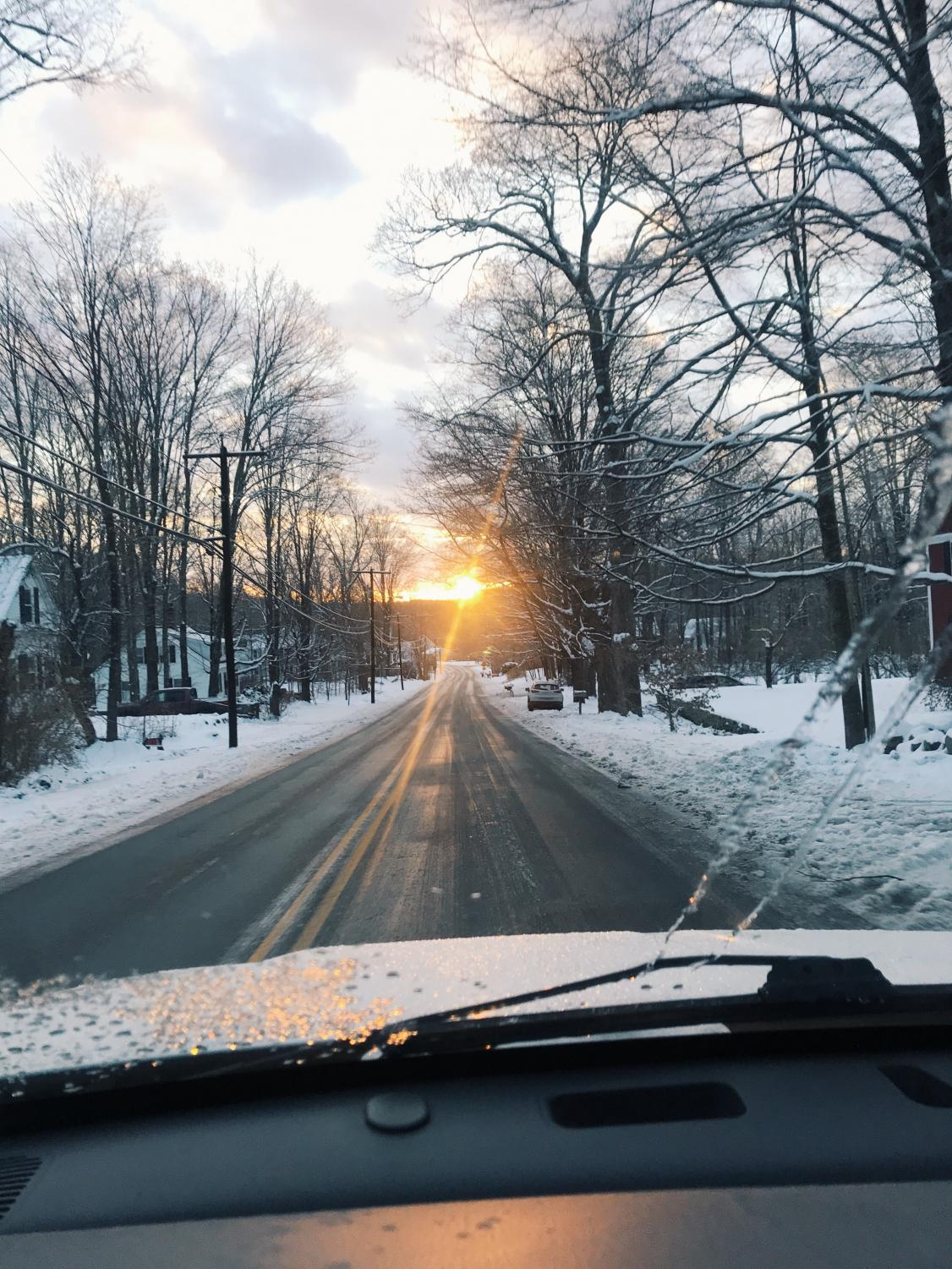 Although the fresh snow makes the streets look pretty, it has been causing dangerous road conditions for students at Hollis Brookline.