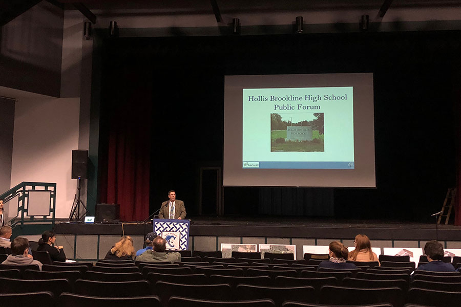 Superintendent Andrew Corey delivers a presentation on the current conditions and the proposed changes to the facilities. He answered questions from the audience.