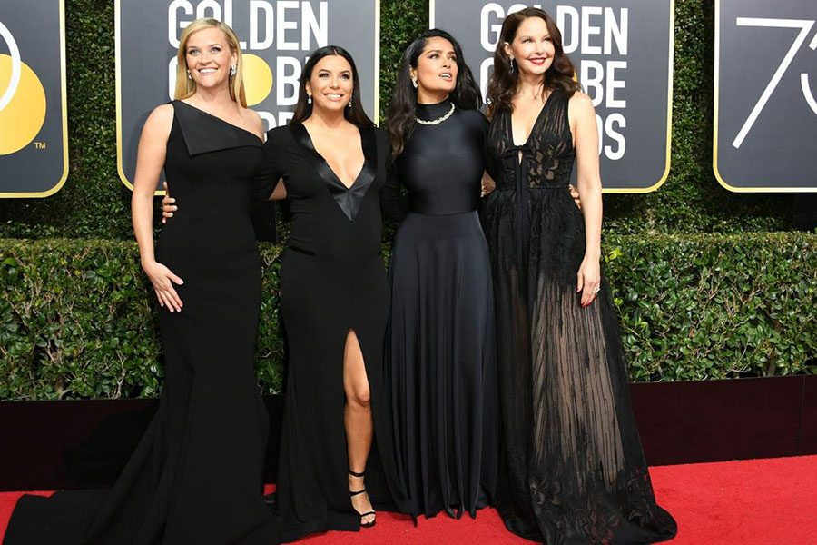 "Standing together on the Red Carpet, actresses dressed in black show support for one another. ""We want diversity, we want intersectional gender parity, we want equal pay,"" told Debra Messing."
