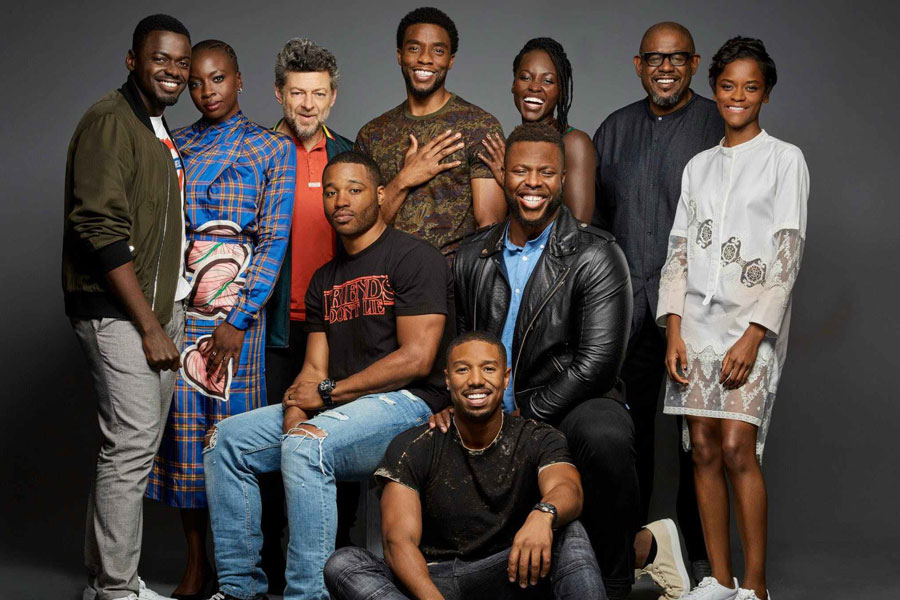 The cast of Black Panther poses for Entertainment Weekly.  Top Row (Left to Right): Daniel Kaluuya, Danai Gurira, Andy Serkis, Chadwick boseman, Lupita Nyong'o, Forest Whitaker, Letitia Wright  Second Row: Director Ryan Coogler, Winston Duke First Row: Michael B. Jordan