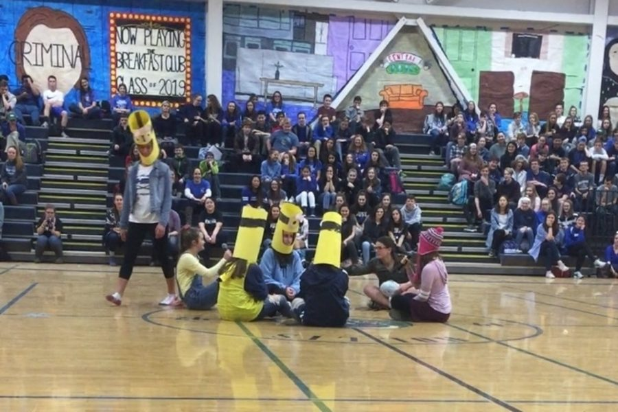 """Sophomores dressed as minions play a rousing game of duck-duck-goose. Student council members were both apprehensive and excited about the theme of Despicable Me. """"I think Despicable Me is a fun theme that represents our class very well,"""" said Coady, """"though the minion sounds can get a little bit annoying."""""""
