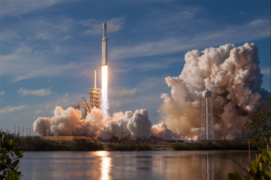 SpaceX's Falcon Heavy begins its ascent into space on February 6th, 2018.