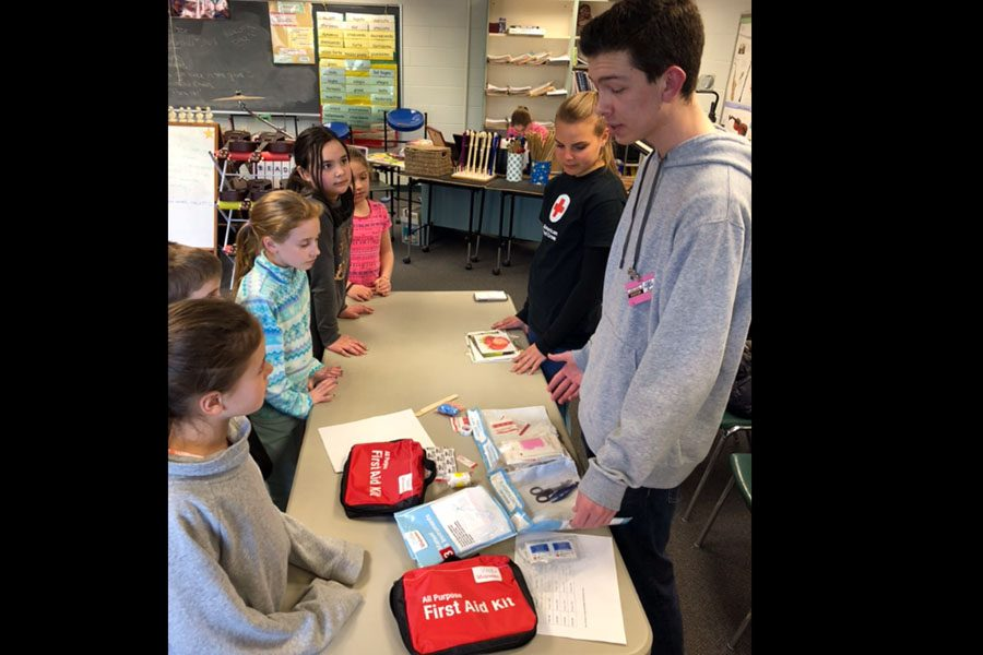 Students learn about first aid kits.