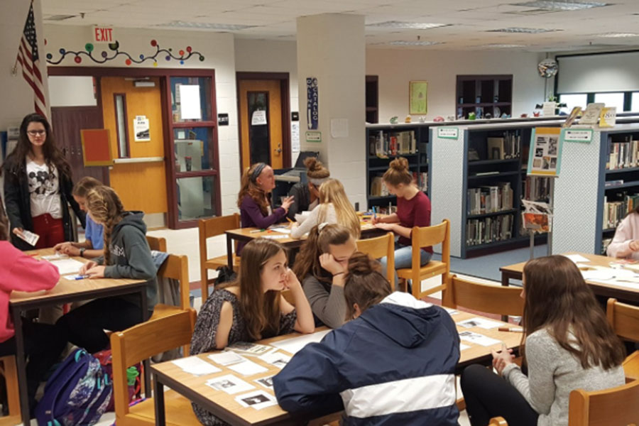 "Students work in the library collaboratively in group projects. Heaton actively worked on creating a area for classes to come in, use resources, and create great work.  ""This is an open-door classroom and an open-door learning space for anyone to use at any time,"" said Heaton."
