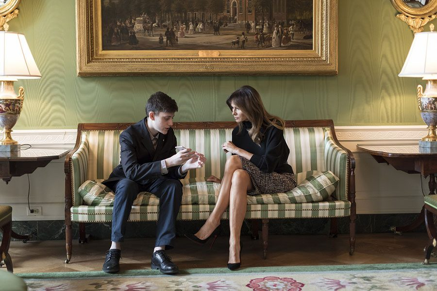 Kyle+Kashuv+speaking+with+First+Lady+Melania+Trump+on+March+10%2C+2018+after+a+meeting+in+the+oval+office.+