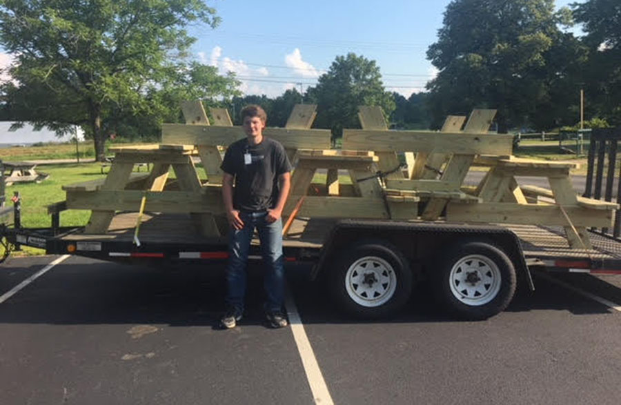 Ethan Hemenway' 18 finishes his Eagle Scout project.