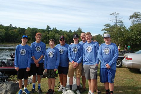 The Bass Fishing team poses before their tournament in September of 2017. The team freshwater fishes for the fall season.