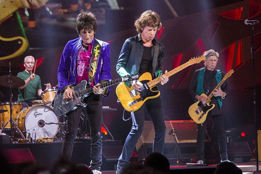 """Aged rockers Mick Jagger, Ron Wood, Keith Richards and Charlie Watts perform as the Rolling Stones in 2015. """"It's what we do man – we enjoy doing it and there's thousands of people out there and they enjoy it too."""" said guitarist Keith Richards in February 2018."""