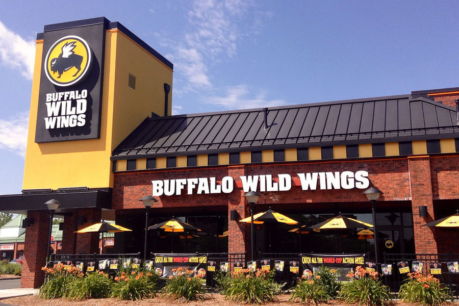 A typical Buffalo Wild Wings location. The store draws large crowds on game days for their famous wings and crazy sports environment.
