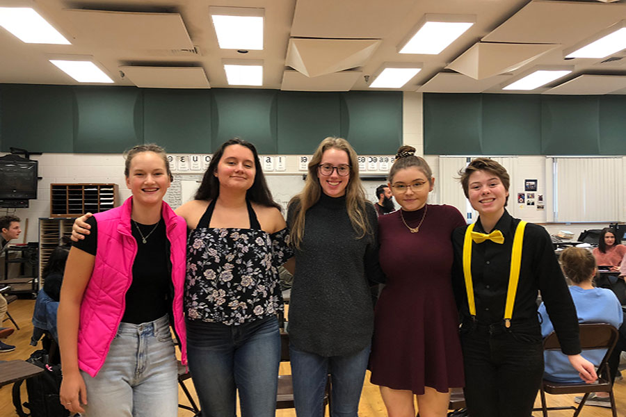 "From left to right, Devon Kuchta '21, Darcy Hinckle '21, Johanna Golden '19, Taylor O'Connell '19, and Megan Mitchell '20, spend every fourth period honors choir class practicing for their big auditions in a few weeks. They all want a spot on this years All State Team. ""We practice all year for this,"" said Hinkle."