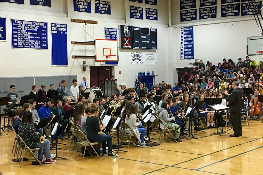 The fantastic HBHS band plays during the assembly in the above photo.
