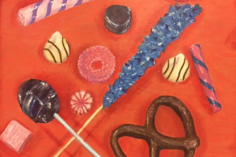 Kimberly Souza - 10, Acrylic painting on canvas, Candy Still-life.
