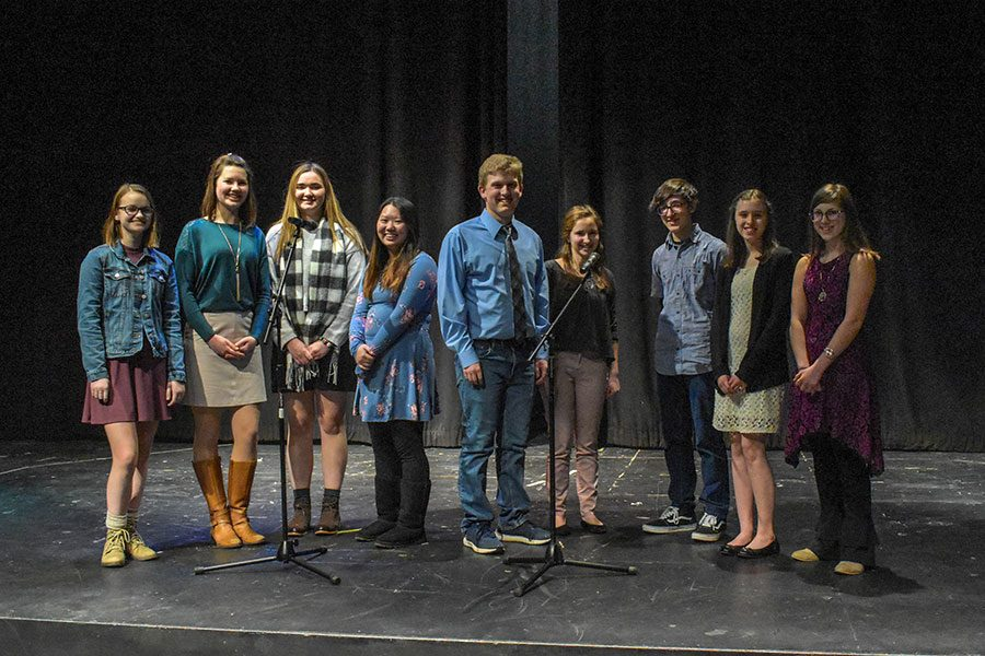 "All ten of the 2018 Poetry Out Loud competitors gather for a group photo. The annual competition is about more that winning- it is a celebration of poetry as an art and a performance. ""Let yourself fall in love with the poem each time you speak it,"" said Lin Illingworth, English teacher and Poetry Out Loud supervisor."