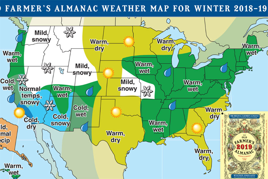 From the Farmers Almanac website, this map of the US shows its predictions for the 2018-2019 winter, warm and wet. Not very wintery but at least it's not absolutely freezing cold.