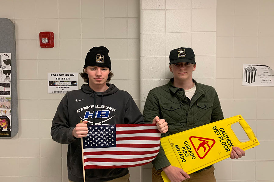 "Pictured here is Swope and Torgerson standing side by side. The two will be together until after their first Battlestation. Both of them ""had it [the military] in the back of their minds"" according to Torgerson, '19."