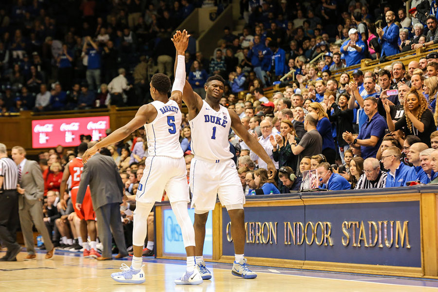 "Pictured here are Duke's superstars RJ Barrett and Zion Williamson. Duke is poised to make some noise in the tournament this year, with a star-studded lineup and a veteran coach. ""Duke has a lot of talent and looks ready to win the tournament,"" said Evan Simonds."