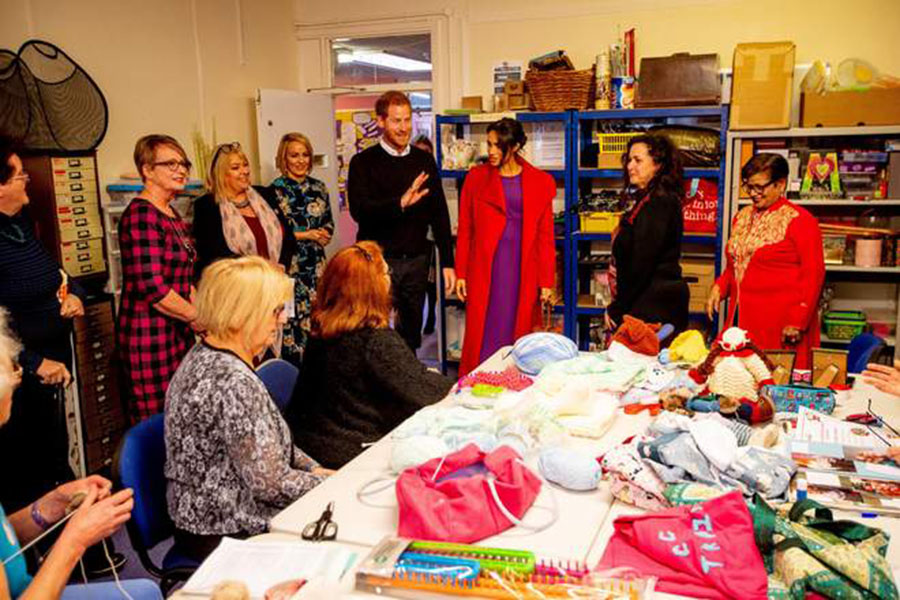 """Prince Harry greets all the women in Birkenhead with his wife Meghan Markle. According to the Independent, """"A standpoint we wholly agree with, as there is no divide between men and women in regard to this issue,"""" says the CEO of Tomorrow's Women Wirral in Birkenhead. The charity was very ecstatic to see Prince Harry arrive."""