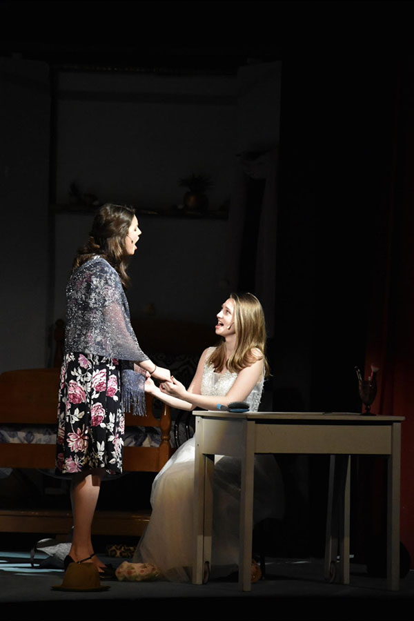 """Nicole (left) and Laurie (right) played two main roles in Mamma Mia. """"Our productions have become much more student-led...it is my conviction that Laurie and Nicole were essential in all of these improvements,"""" said Barbosa. They next play was Almost Maine, which both Nicole and Laurie starred in."""