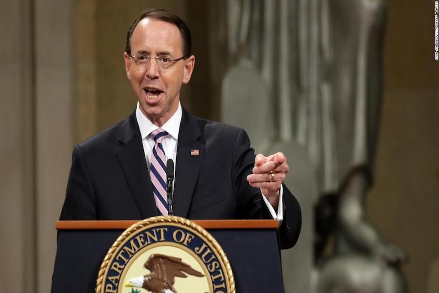 Rosenstein+speaks+to+an+audience+at+his+farewell+celebration+on+Thursday+alongside+the+former+Attorney+General+%28Jeff+Sessions%29+and+the+current+%28William+Barr%29.+Rosenstein+delivered+his+resignation+letter+to+the+White+House+on+April+29.