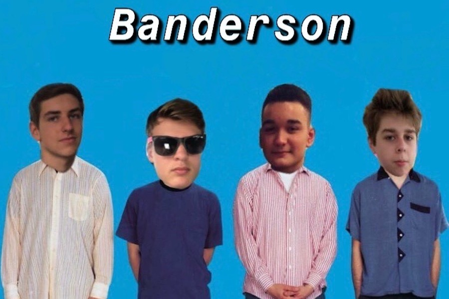 "This is the official Banderson logo, which shows the four members' faces photoshopped over the four members of American rock band Weezer on The Blue Album. ""We love Weezer,"" says Ide. Banderson plans on covering Weezer's ""Buddy Holly"" sometime in the future."