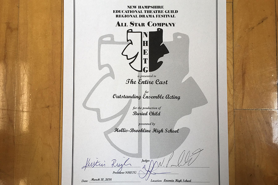 At the 2018 NHETG Regional Drama Festival, HBHS's ITS won the Outstanding Ensemble Award and received this certificate. They hope to attend the festival again in 2020.