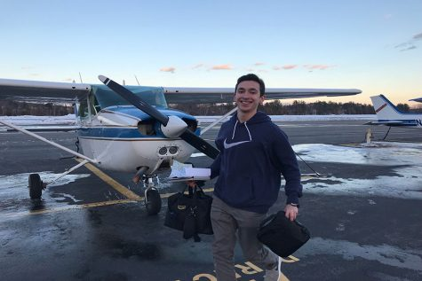 "Rob Bardani '19 stands in front of his plane. He flies out of Nashua Biore Airfield and got his first lesson at 15 and pilot's license at 18. ""Aviation class could be really beneficial to our school."""