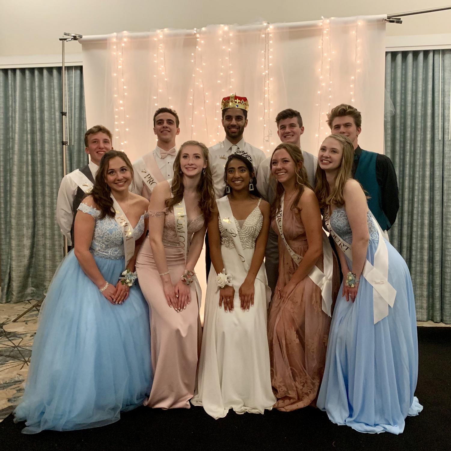 """Pictured is the class of 2019's Prom King and Queen. """"Thinking about high school 10 years from now, I'll definitely think about the time when I won prom king,"""" says Miglani. The both of them are very happy to have this honor."""
