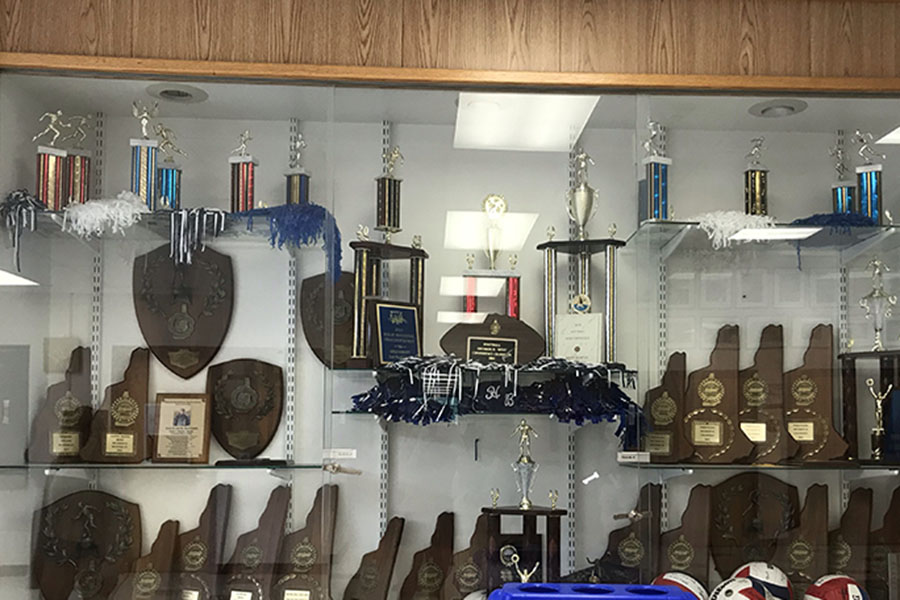 """Our school sports aren't that bad,"" Magnuszewski exclaims, as the trophy case shows. The trophy case reveals all the sports accomplishments. There are trophies from last year and there were some recently added this year."