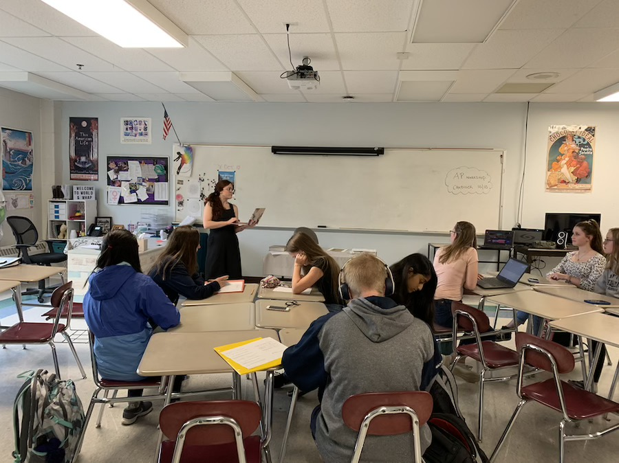 """Jennifer Given, a World History teacher, takes attendance at the beginning of the CavBlock period. The students on the roster have signed up ahead of time on the PowerSchool Adaptive Scheduler. """"It teaches kids more life skills where they need to plan ahead,"""" said Ford."""