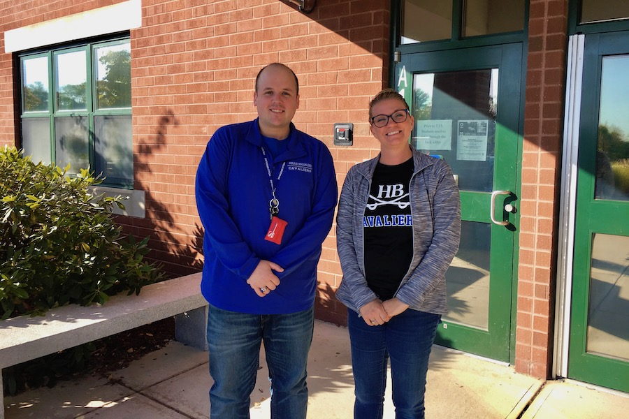 Mr. Bumbarger (right) standing alongside his mentor, Chantel Klardie (left), another member of the school counseling staff at Hollis-Brookline High School.