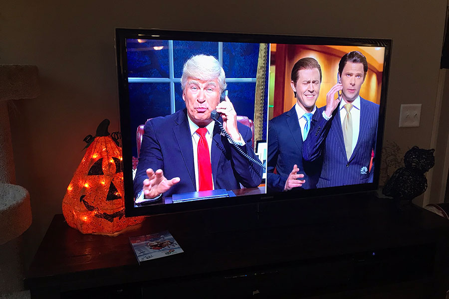 """Alec Baldwin returns this episode, bringing back his iconic impersonation of President Donald Trump, with Alex Moffat and Mikey Day playing Eric and Donald Trump Jr., respectively. """"How can you not like Alec Baldwin?"""" said Stoll."""