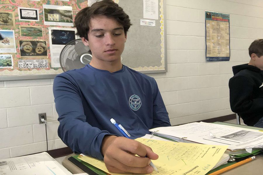 "Public school returnee Aidan Dufoe '22  is working on a math assignment for class at Hollis Brookline High School. This is his first year back at public school after attending just one year at Bishop Guertin. ""I prefer public school. It's more of a community,"" said Dufoe."