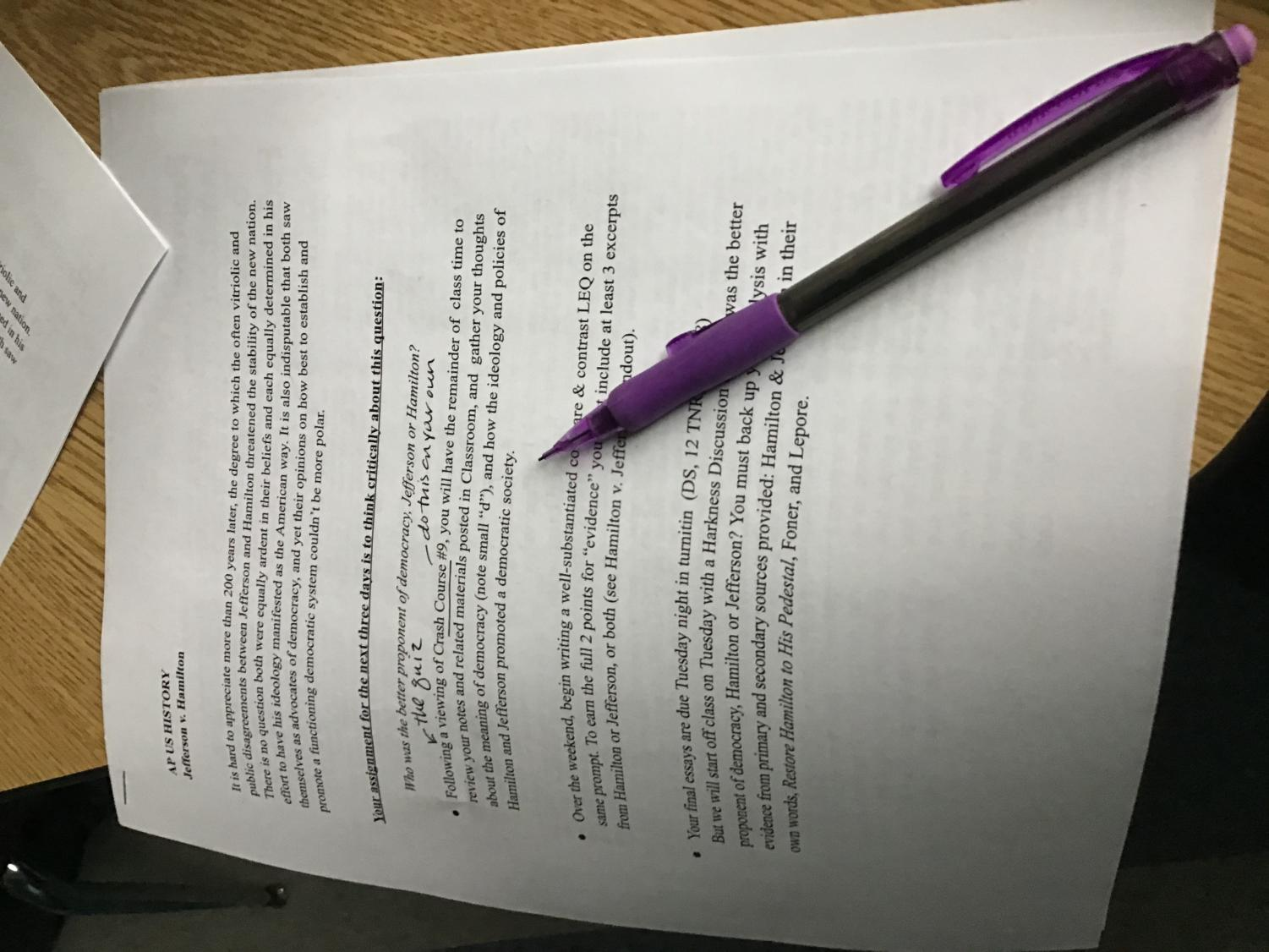 "Here at HBHS, this is a typical homework assignment from an AP level class. The amount of homework a student has can have disastrous effects on their health and sleep schedule. ""Kids shouldn't be given more than two hours of homework a day, [preferably] one hour a day outside of school,"" said Christina Ellis."