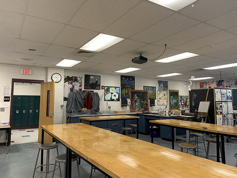"In the picture is many students' favorite room with Mrs. Pepper one of the two art teachers here at HBHS, an important class for many students like John MacFarlane '21 said,""For someone like me I'd say [art] is really important because it's kind of like a time to calm down and do something that you enjoy."""