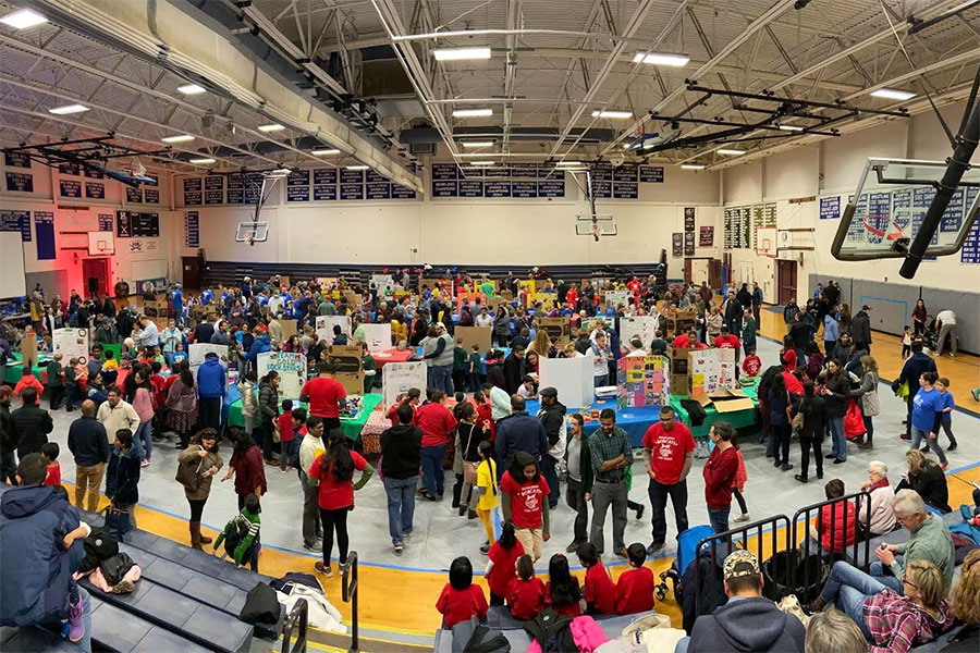 "The children participating in the FIRST® Lego League Jr. (FLL Jr.) Expo present their work to viewers. ""[The kids] come up to you and present their presentations"" said Alex Hill '22."