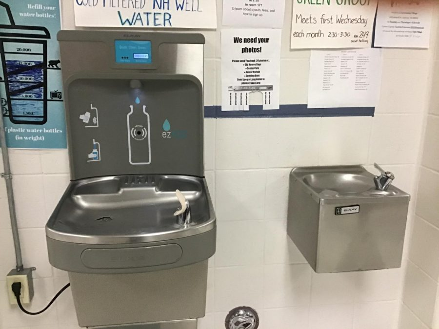 At+HBHS%2C+the+new+water+bottle+refill+stations+are+a+sight+to+see.+These+stations+have+helped+to+save+thousands+of+plastic+water+bottles+from+the+environment+since+their+introduction+to+the+school.+%E2%80%9CWe+may+not+see+it+immediately%2C+but+there+are+worse+consequences+than+we+might+be+aware+of%2C%E2%80%9D+said+Thompson.