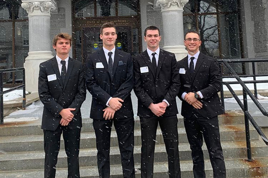 """A.P. Government students stand in front of the New Hampshire State House after their district hearing. """"The hearings are exciting but certainly nerve racking,"""" said Josh Ide '20."""