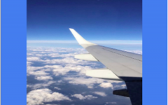 """I took this photo on my flight last spring, the clouds are floating all around the plane here. During the short flight, this plane produced almost 42,000 pounds of carbon dioxide into the air that we breathe. """"This is getting out of hand and things need to change,"""" says Teddy Moscatelli '21."""