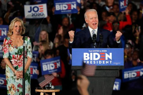 "Joe Biden celebrates his Super Tuesday victories at a rally in Colombia. Biden, after defeats in the first two primaries, is now the current delegate leader. ""Biden is well-liked by Black voters, moderates, and the Democratic establishment,"" said Lily Coady '20."