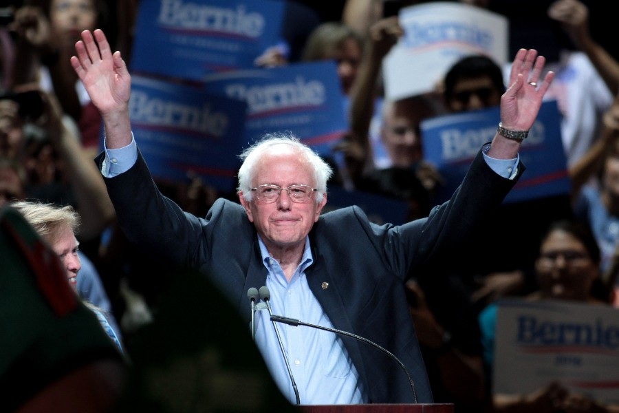 Vermont+Senator+Bernie+Sanders+raises+his+arms+in+victory+following+the+New+Hampshire+Primaries.+Sanders+edged+out+his+top+opponent+Pete+Buttigieg%2C+accruing+26%25+of+the+Democratic+vote.+According+to%C2%A0+WMUR%2C+Sanders+addressed+supporters+following+his+victory.+%22Let+me+take+this+opportunity+to+thank+the+people+of+New+Hampshire+for+a+great+victory+tonight%2C%22+Sanders+said.+%22With+victories+behind+us+--+the+popular+vote+in+Iowa+and+the+victory+here+tonight+--+we%E2%80%99re+going+to+Nevada.+We%E2%80%99re+going+to+South+Carolina.+We%E2%80%99re+going+to+win+those+states+as+well.%22