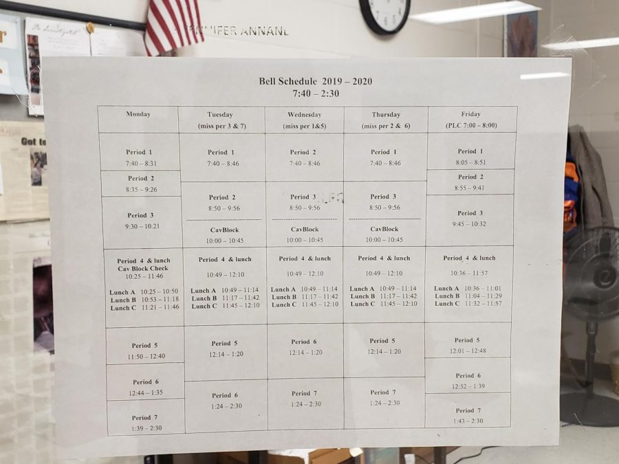 "The typical bell schedule here at HBHS. This schedule has been the same ever since 2017, when students advocated for a later start time. ""Changing the school day schedule would be hard to change, but not impossible,"" said Trevor Duval."