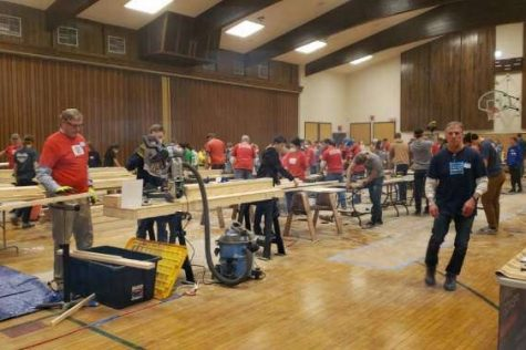 "Volunteers from Hillsborough County gather at a local church to participate in the most recent Sleep in Heavenly Peace Build Day. They built 20 bunk beds in the span of four hours. ""Kids not having beds or places to sleep is not something that a lot of people think about as an issue in our community, but there is a need for it. The beds are going to help get kids off the floor and sleeping in actual beds"" said Kathryn Fry '20."
