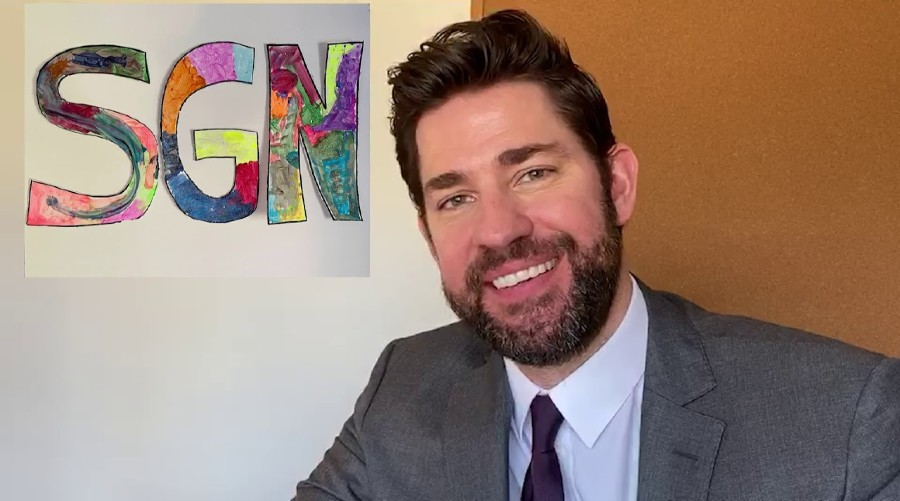 "John Krasinski at home debuting his show Some Good News. He has done two episodes, each one talking about the positive side of the news during the Coronavirus outbreak. ""It's a nice break from the bad news going on all the time during the Pandemic"", said Annie Hazelton '21."